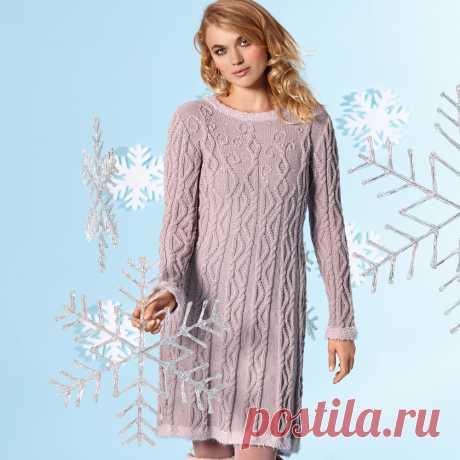 Теплое платье с рельефным узором - схема вязания спицами.
