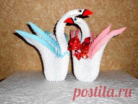 ЛЕБЕДЬ двойной, СВАДЕБНЫЕ ЛЕБЕДИ - модульное оригами, подробная схема сборки, пошаговые фото :: Блог Лики: Своими руками