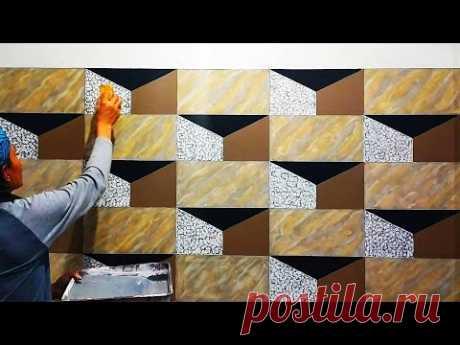 3D  WALL PAINTING  TUTORIAL || CAT TEMBOK 3D || WALL ART PAINTING DESIGN