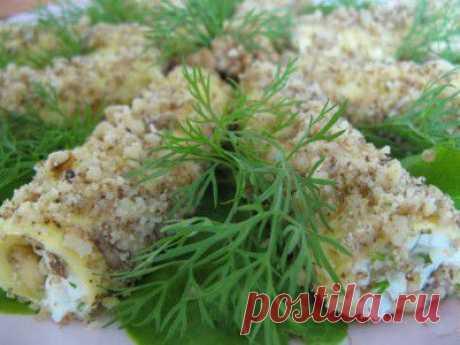 Сырные трубочки с чесноком и орешками | Вкусный каприз.