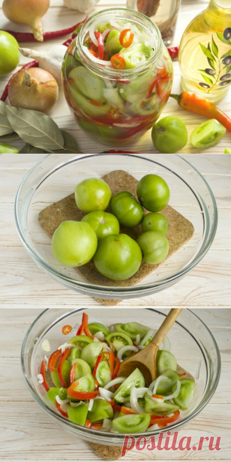 Салат из зелёных помидоров с луком и перцем на зиму.