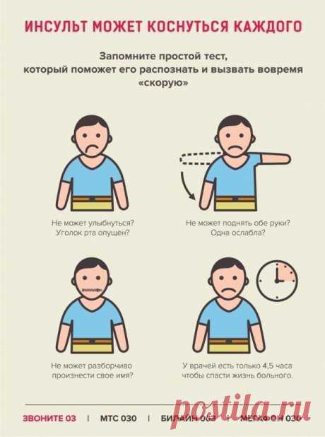 ИНСУЛЬТ: Запомните 3 простых шага, чтобы спасти жизнь себе или близким