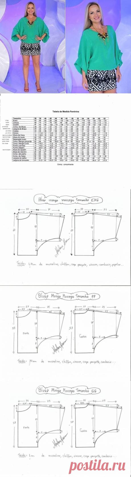 """Выкройка блузки """"летучая мышь"""", размер Евро  36-60 (Шитье и крой) – Журнал Вдохновение Рукодельницы"""