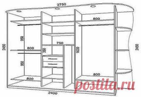 Как сделать шкаф-купе своими руками? Очень просто! Давайте разберёмся, из чего состоит шкаф-купе.  Корпус шкафа: ЛДСП (ламинированная древесно стружечная плита) + кромка (для обрамления торцов ЛДСП). Двери шкафа: алюминиевая система (каракас двери, направляющие, ролики) + вставки в дверь. Фурнитура: крепёж, полкодержатели, штанга, корзины и т.д.   С чего начать? Всё по-порядку.   1. Продумываем чертёж шкафа - габариты шкафа-купе, сколько секций в шкафу, количество полок, н...