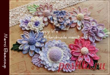 ◆ハンドメイド*お花モチーフ*パープル系*◆ - ヤフオク!