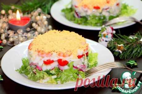 """Салат с кальмаром и овощами """"Новогодний"""" - кулинарный рецепт"""