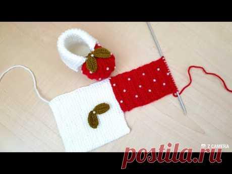 """Пинетки """"клубнички"""", связанные спицами + необычная техника вязания"""