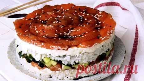 Очень популярный салат *Суши торт* Это очень вкусно | ПРОСТОРЕЦЕПТ | Яндекс Дзен