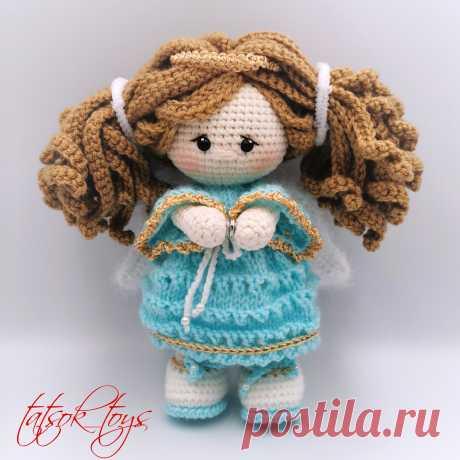 PDF Ангел-хранитель крючком. FREE crochet pattern; Аmigurumi doll patterns. Амигуруми схемы и описания на русском. Вязаные игрушки и поделки своими руками #amimore - ангел, ангелок, ангелочек, кукла, куколка, девочка.