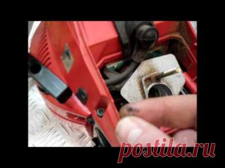 Бензопила глохнет при нажатии на газ,- РЕГУЛИРУЕМ КАРБЮРАТОР.Chainsaw stalls when pressing on gas