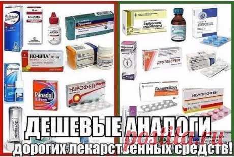ЗАМЕНА ДОРОГИХ ЛЕКАРСТВ АНАЛОГАМИ!   СОХРАНЯЕМ СЕБЕ! 1. Нурофен (120руб) = Ибупрофен (10руб)  2. Мезим (300руб) = Панкреатин (30руб)  3. Но-шпа (150руб) = Дротаверина гидрохлорид (30руб)  4. Панадол(50руб) = Парацетамол (5руб)  5. Белосалик (380руб) = Акридерм СК (40руб)  6. Бепантен (250руб) = Декспантенол (100руб)  7. Бетасерк(600руб) = Бетагистин (250руб)  8. Быструмгель (180руб) = Кетопрофен (60руб)  9. Вольтарен (300руб) = Диклофенак (40руб)  10. Гастрозол (120руб) = ...