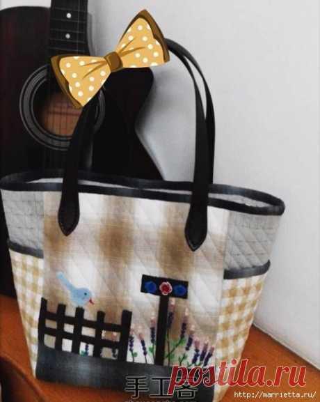 Лоскутная сумочка с птичкой и лавандой. Шьем сами