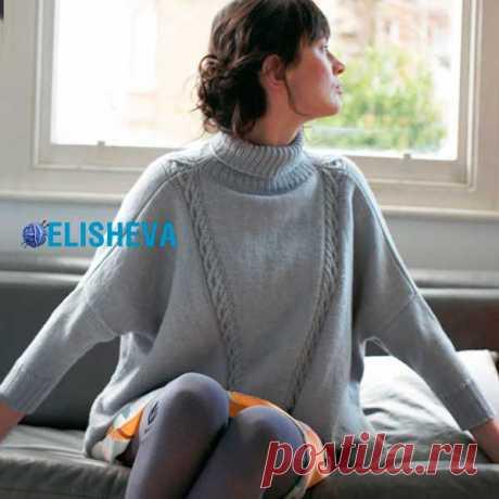 "Свитер-пончо со ""жгутами"", от Debbie Bliss. Спицами. / Блог elisheva.ru"