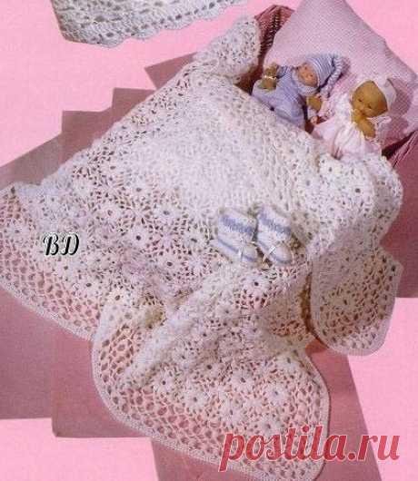 Ажурное одеяло-покрывало для малыша из категории Интересные идеи – Вязаные идеи, идеи для вязания