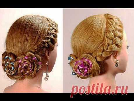 . Плетение кос с лентами. Braided hairstyle with ribbons - YouTube