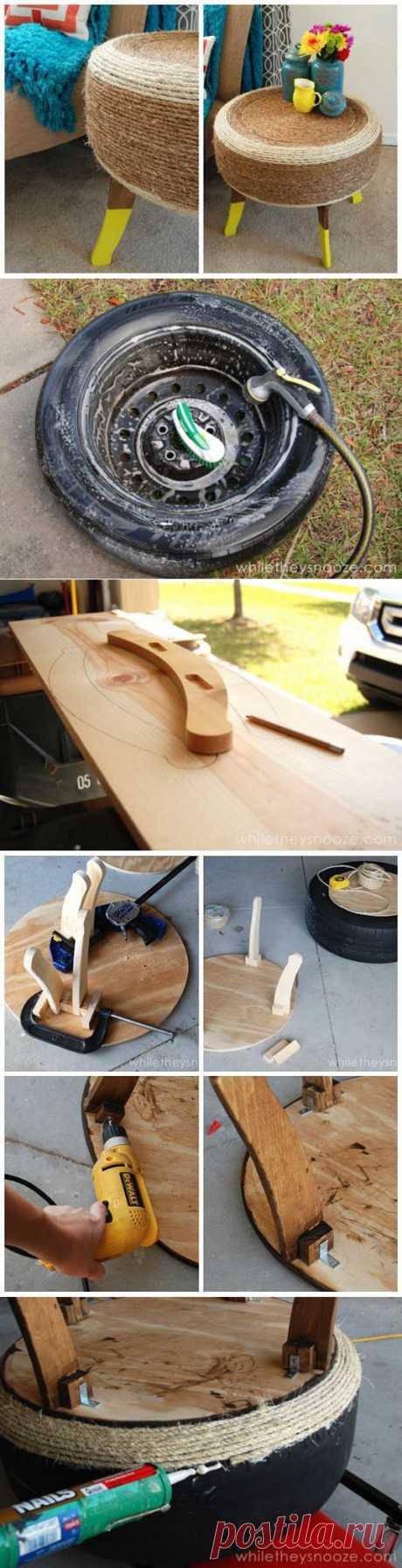 Придиванный столик из автомобильной шины | Ladiesvenue