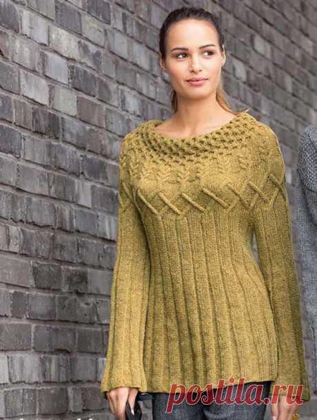 Вязаный пуловер с круглой кокеткой — DIYIdeas