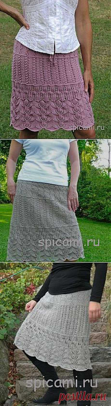Ажурная многослойная юбка спицами.