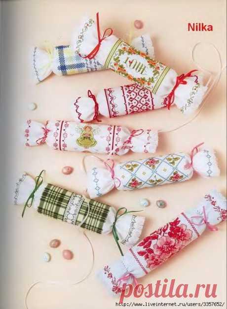 Прелестная идея для подарков — вышитые конфетки-игольницы — HandMade
