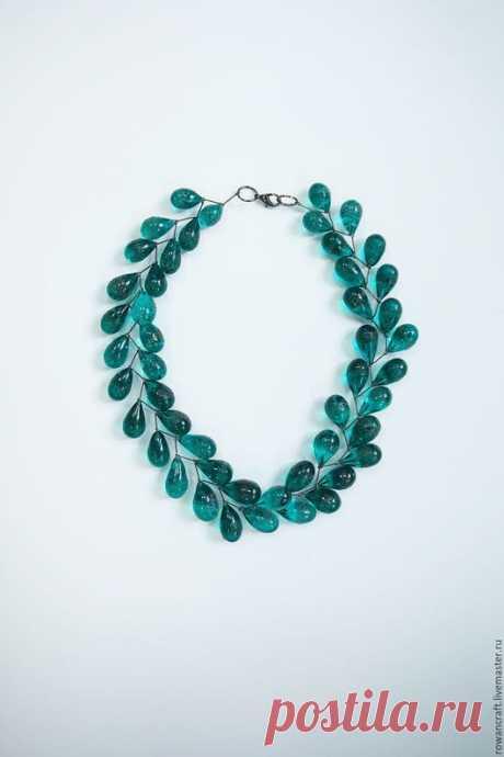"""Купить Колье """"Капли океана"""" - хрусталь, лэмпворк, lampwork, стекло, glass, подарок, весна, москва"""