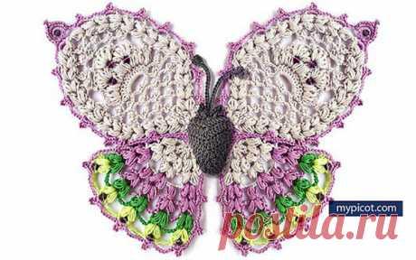 Схема вязания бабочки Схема вязания крючком бабочки