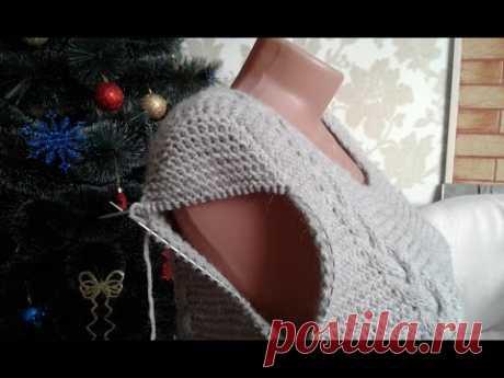 Платье спицами (платочная вязка + косы). Часть 7. Имитация вшивного рукава.
