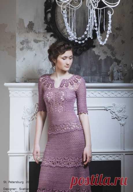 Шикарное платье крюком со схемами. Вязаные крючком платья новые схемы   Вязание для всей семьи