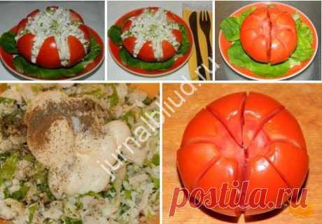 """Салат """"Шик"""" Салат """"Шик"""" Этот салатик — простой, свежий, сытный и вкусный. Мне очень нравится его подача. В самый раз для любого праздника! А отдельные порции — это всегда очень удобно."""
