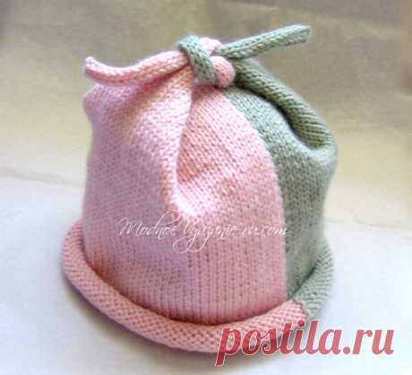 Шапочка двухцветная спицами Top Knot Hat - Modnoe Vyazanie ru.com