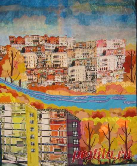 """Картина из лоскутков """" И снова осень в городе"""""""