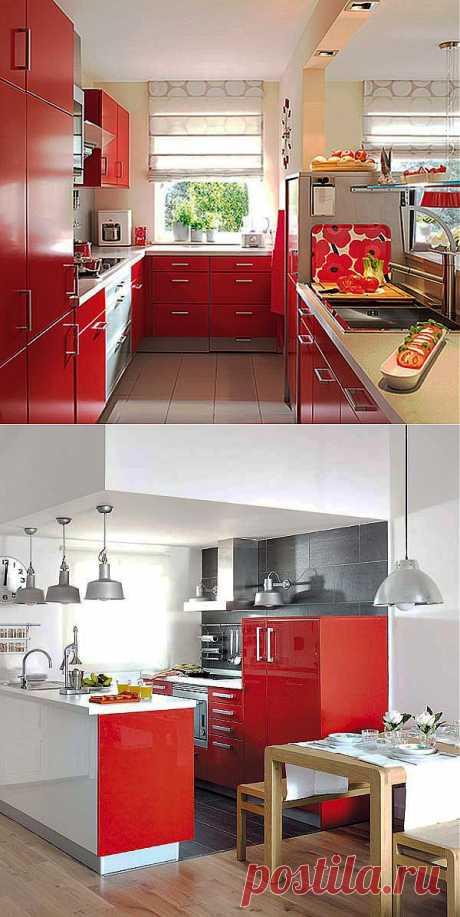 Дизайн красной кухни. Красные кухни фото