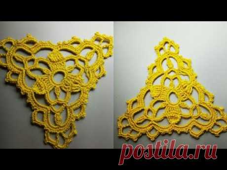 CROCHET Triangular motif №5Triangle in the style of reticello Треугольный мотив №5 крючком