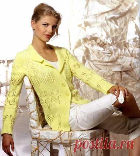 Желтый жакет для женщин спицами с описанием и схемами — Пошивчик одежды