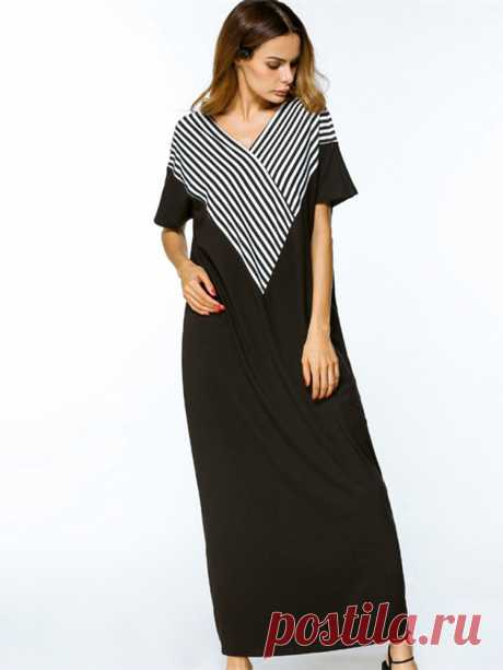 Women Casual Loose V-neck Stripe Patchwork Short Sleeve Maxi Dresses at Banggood