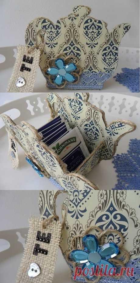Вазочка чайник из картона для чайных пакетиков. Мастер-класс.