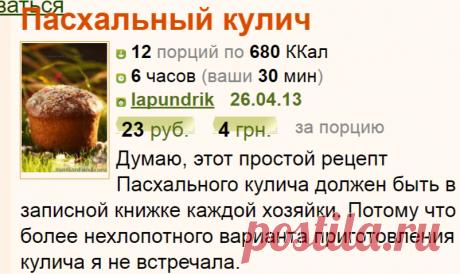Рецепт: Пасхальный кулич на RussianFood.com