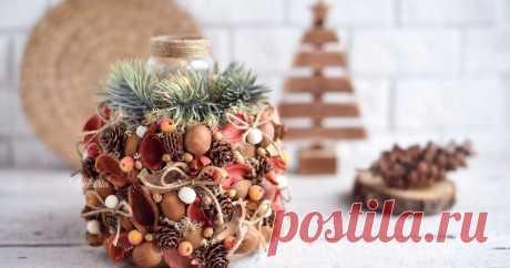 """Композиция-подсвечник """"Новогодний боченок"""" венок, подсвечник, декор на стену, декор для дома, своими руками, мастер класс"""