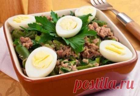 Салат с тунцом и стручковой фасолью (низкокаллорийный)