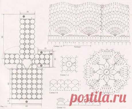Ажурное белоснежное очаровательное платье крючком – 2 варианта схем вязания