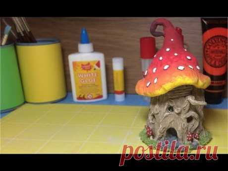 How To Make a Fantasy Treestump Mushroom House, Paper Clay toadstool ,Fairy Ornament
