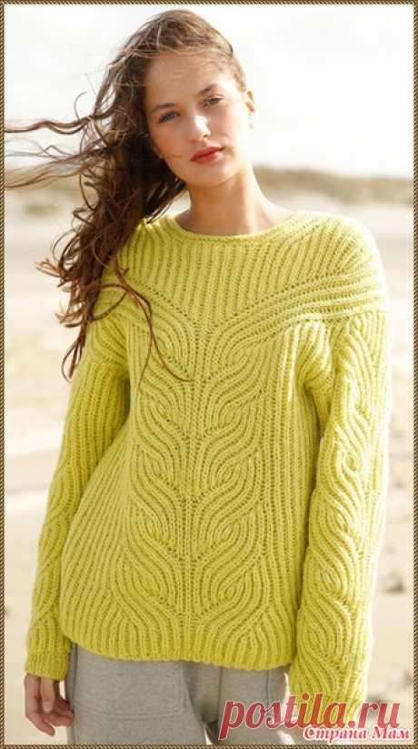 . Джемпер жёлтого цвета, связанный патентным узором - Вязание - Страна Мам