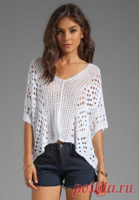 Openwork crochet blouse. Knitting crochet poncho scheme.  