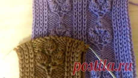 Веточки с полосой из снятых петель. Вязание спицами.