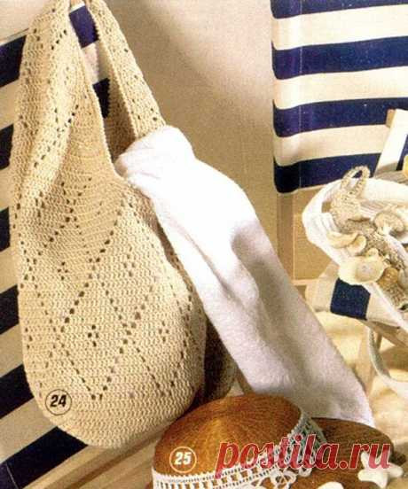 Сумка с ромбами вязанная крючком - Вязанные сумки