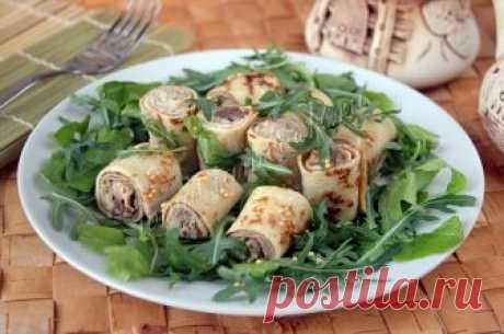 Салат с фаршированными блинами, рецепт с фото.