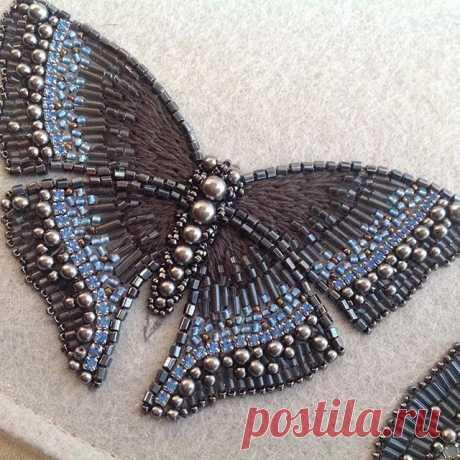 "Серия""зимние мотыльки"".Авторская вышивка#аппликация #бабочка #вышивка #бисер #embroidery #butterfly"