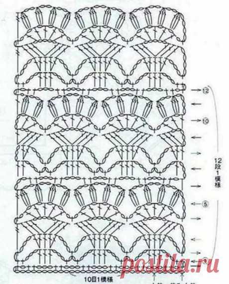схема узора лилии без расширения крючком
