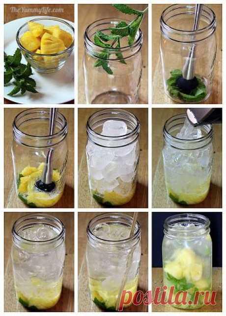 Вода с ананасом и мятой  Веточку мяты или листочки мяты (если хотите, чтобы они красиво плавали в банке) положите в емкость. Немного перетираем мяту мадлером, вы должны почувствовать её аромат. Добавляем кусочки ананаса, разминаем ещё. Лёд, вода, перемешиваем, закрываем крышкой, ставим в холодильник.
