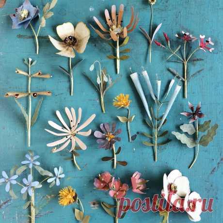 Ann Wood - ArtisticMoods.com Mixed media artist Ann Wood creates little flower gardens using paper, fabric and wire. Love!