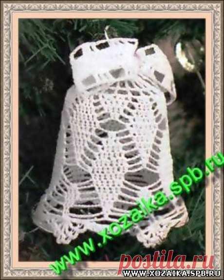 Хозяйка - Новогодние игрушки вязание крючком.Ажурный белый колокольчик. Модель схема описание.